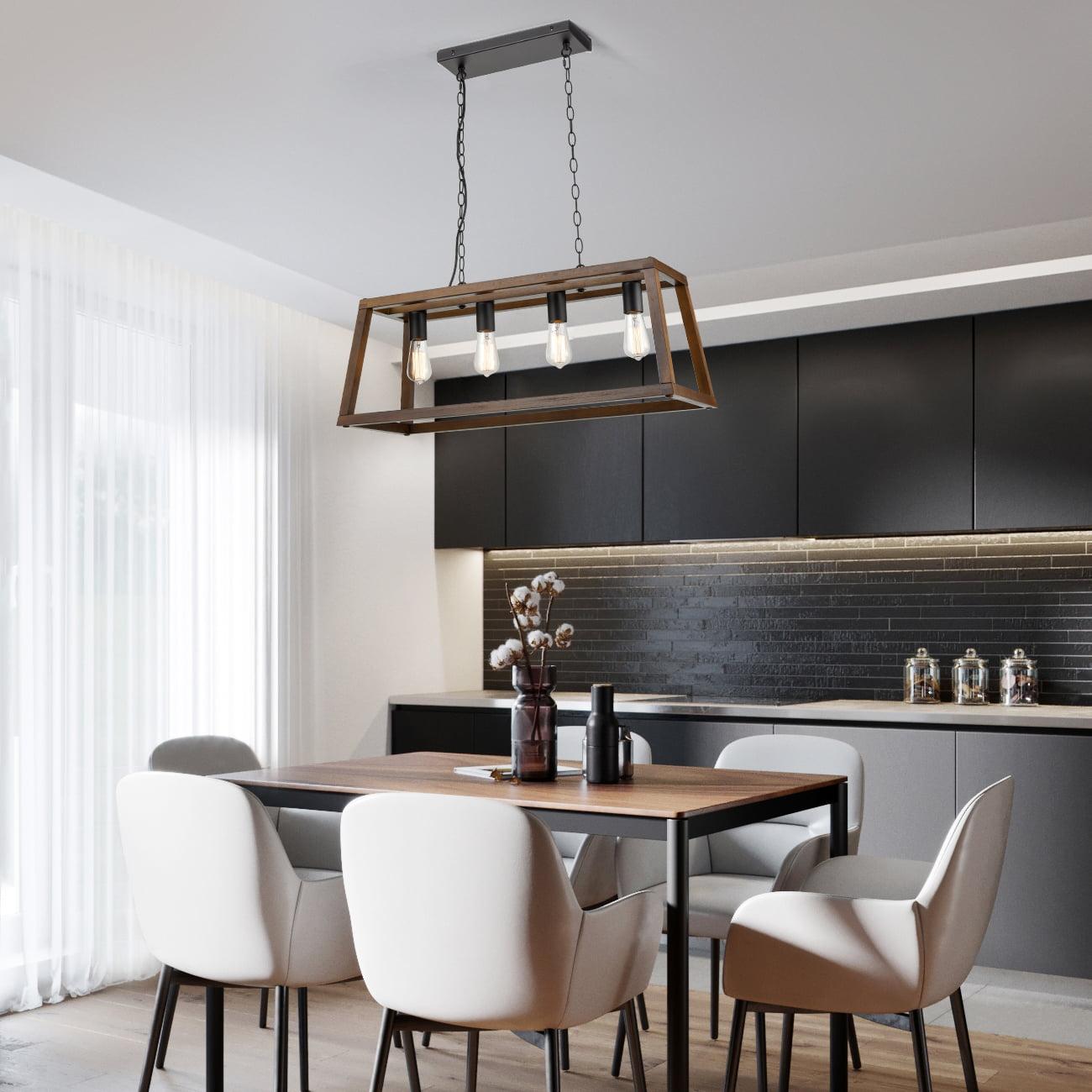 Light Society Walnut Wood Bristol Pendant Lamp Chandelier with Metal Chain Modern Industrial Style
