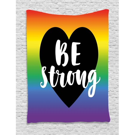 Pride Decorations Tapestry, Be Strong Gay Parade Slogan Freedom Rights Equality Love Theme Heart Icon, Wall Hanging for Bedroom Living Room Dorm Decor, 40W X 60L Inches, Multicolor, by Ambesonne (Parade Decorations)