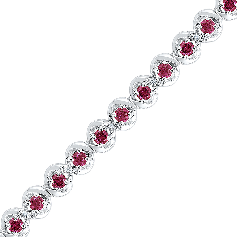 1 20 CTTW STERLING SILVER LC RUBY FASHION BRACELET by D-Gold