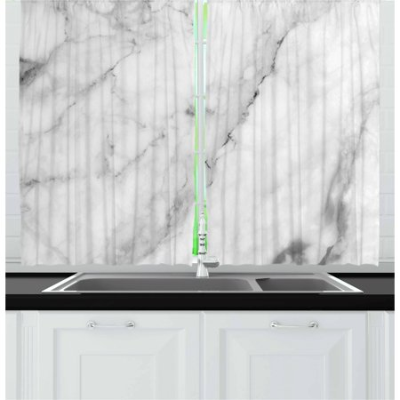 Marble Curtains 2 Panels Set, Granite Surface Motif with Sketch Nature Effect and Cracks Antique Style Image, Window Drapes for Living Room Bedroom, 55W X 39L Inches, Grey Dust White, (Bedroom Marble)