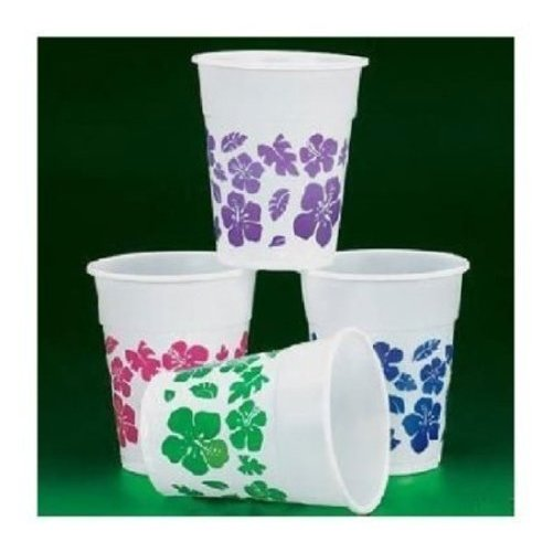 Fun Express 50 Plastic Hibiscus Drink Cups Luau Party Decor/Tropical Beverage Novelty, 16 oz
