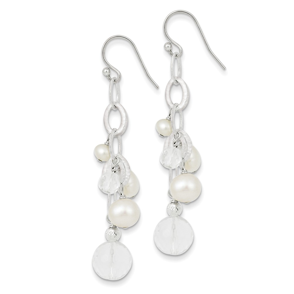 Sterling Silver Freshwater Cultured Pearl/Crystal/DC Bead Cluster Drop Earrings (2.02IN Long)