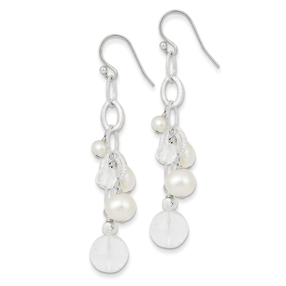 Sterling Silver Freshwater Cultured Pearl/Crystal/DC Bead Cluster Drop Earrings (2.02IN Long)