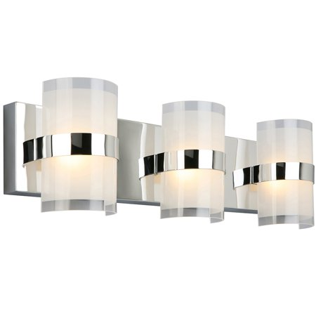 Design House 577783 Haswell Traditional LED 3-Light Indoor Bathroom Vanity Light Frosted Glass for Over the Mirror, Polished Chrome Manor Traditional 3 Light
