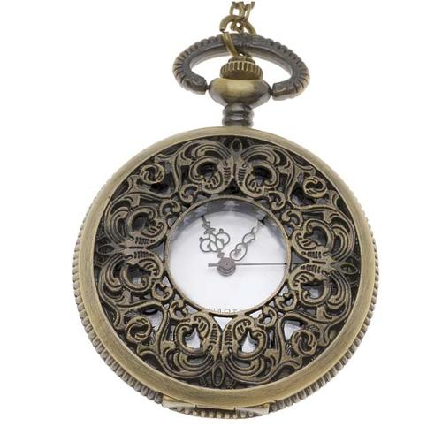 Pocket Watch Pendant - Antiqued Brass Quartz Motion -  Filigree Lid And Chain