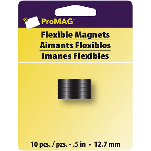 "ProMag Flexible Round Magnets, 3/16"" Thickness, .5"" Diameter, 10pk"