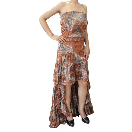 Mogul Interior Mogul Womens Hi Low Accents Dress Recycled Silk