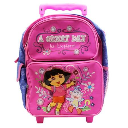 Dora the Explorer A Great Day to Explore! Preschooler Rolling Backpack (12in) (Dora Rolling Backpack)