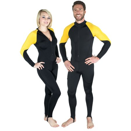 Storm Yellow and Black Lycra Dive Skin for Scuba, Snorkeling and Water Sports