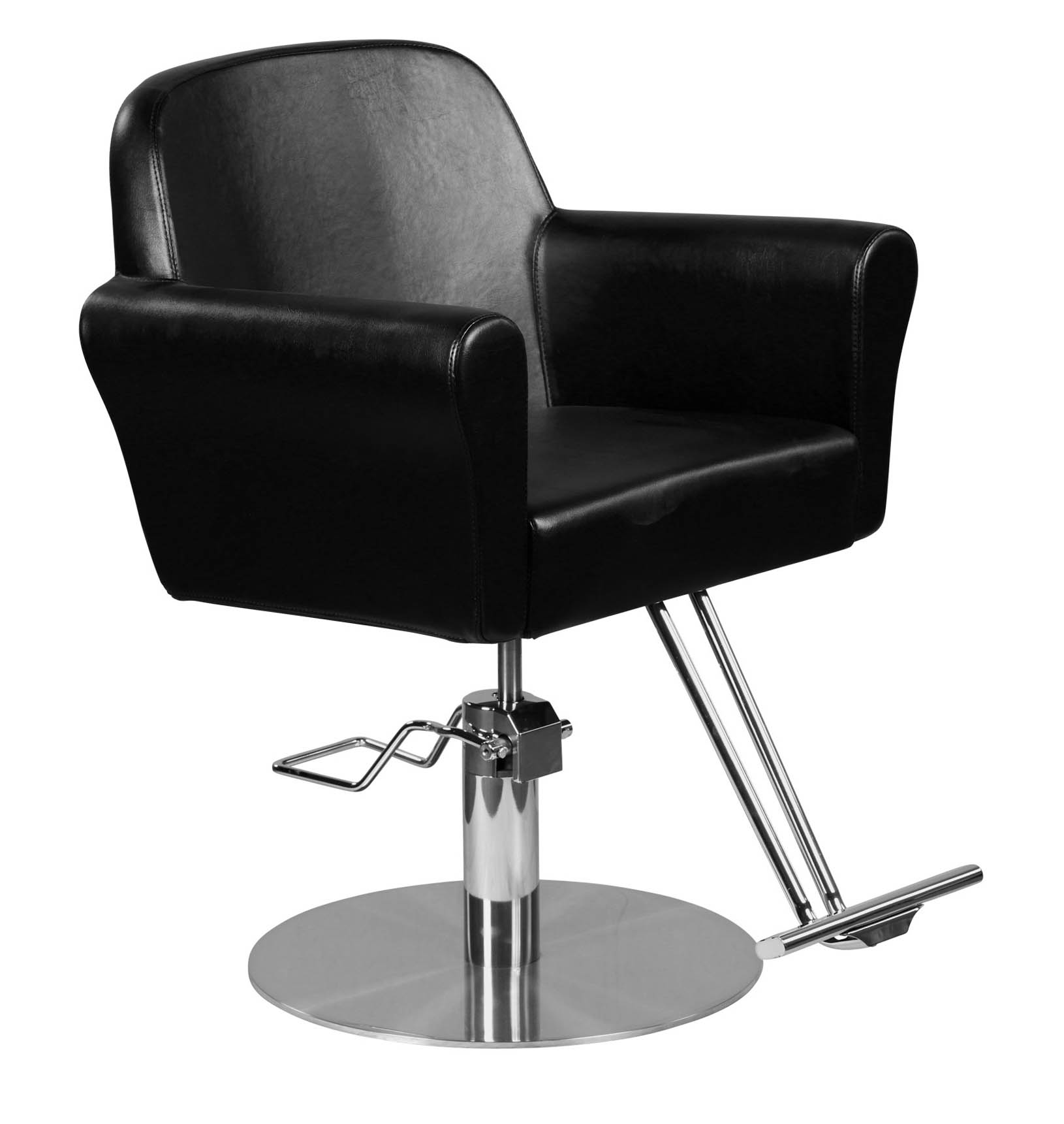 """Howard"" Modern Hair Salon Styling Chair With Round Base, Chrome T Bar Footrest by Icarus"