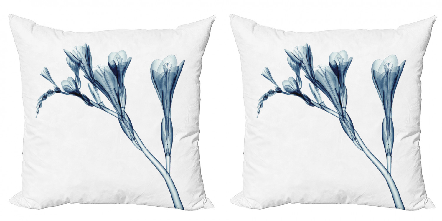 Flower Throw Pillow Cushion Cover Pack Of 2 Uv Style Picture Of Flower Floral Radiography Themed Illustration Modern Design Zippered Double Side Digital Print 4 Sizes Teal White By Ambesonne Walmart Com