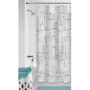 Mainstays Cityscape PEVA Shower Curtain or Liner, 70 inch x 72 inch, Black
