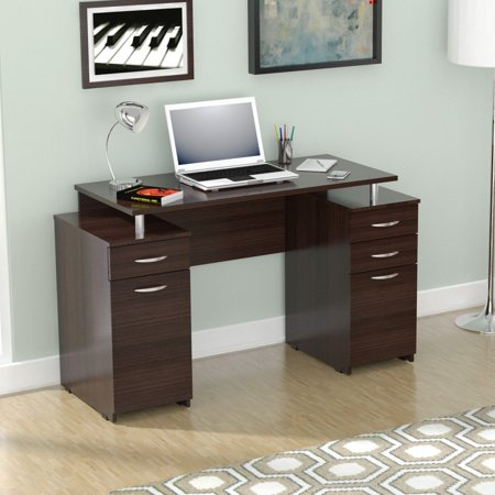 Inval Computer Desk with Four Drawers, Espresso-Wengue Finish ()