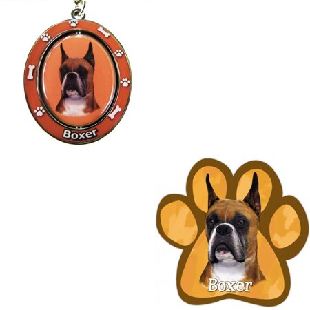 - Bundle - 2 Items: Cropped Boxer Spinning Keychain and Paw Magnet