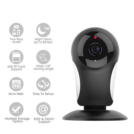 M.Way Wireless Night VisionTwo-way Audio IP Camera with Motion Detection HD 960P Home Security Camera Baby Monitor Photography 110° Wide-Angle Viewing for  Indoor Security Surveillance