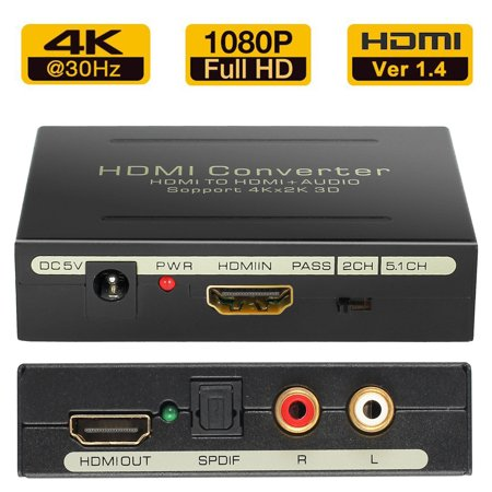 ESYNIC HDMI Audio Extractor 4Kx2K HDMI to HDMI SPDIF RCA L/R Audio Video Converter Adapter 3D HDMI Video Audio Adapter Converter support PASS 2.0CH 5.1CH Audio Output for Xbox360 PS3 -