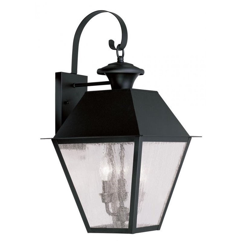 Livex Mansfield 2168-04 3-Light Outdoor Wall Lantern in Black