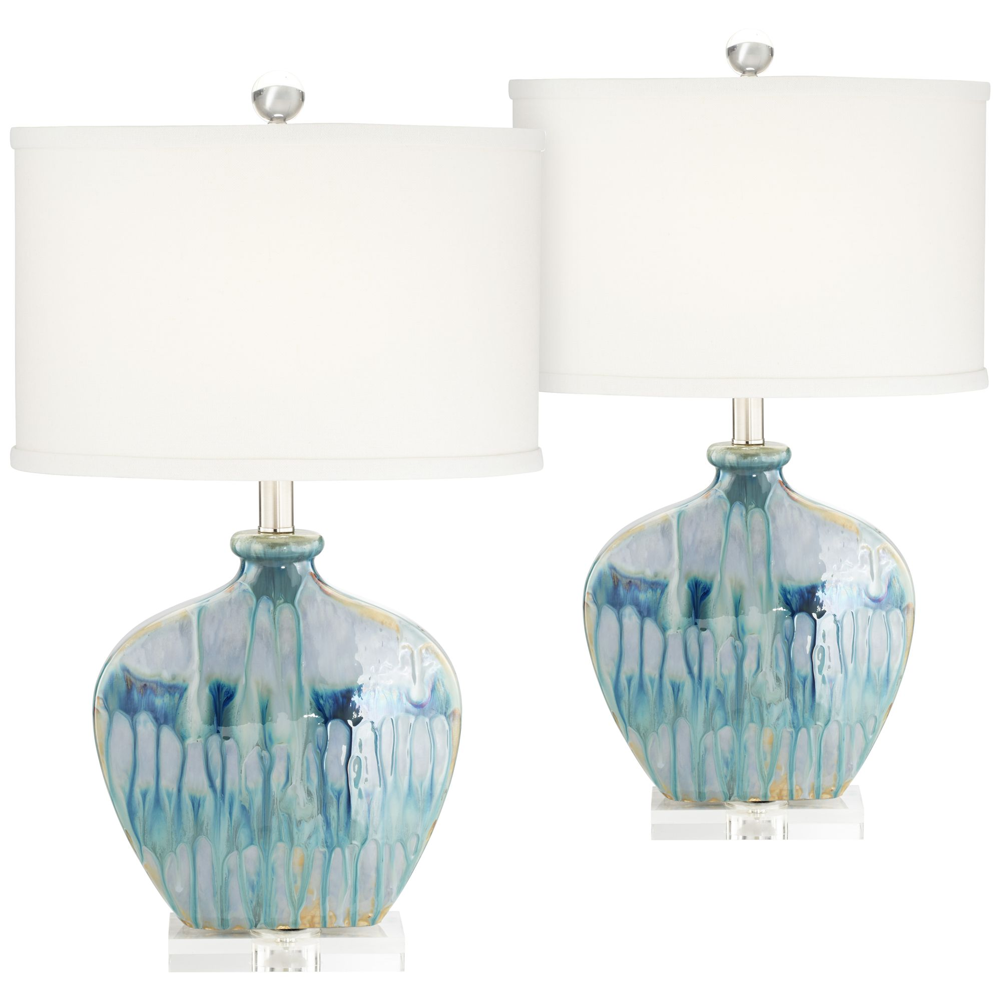 Possini euro design coastal table lamps set of 2 ceramic blue drip off white oval shade for living room family bedroom office