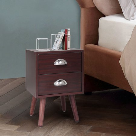 Lowestbest Bedside Table, Solid Wood Legs Nightstand with 2 Storage Drawer, Brown (1Pcs)