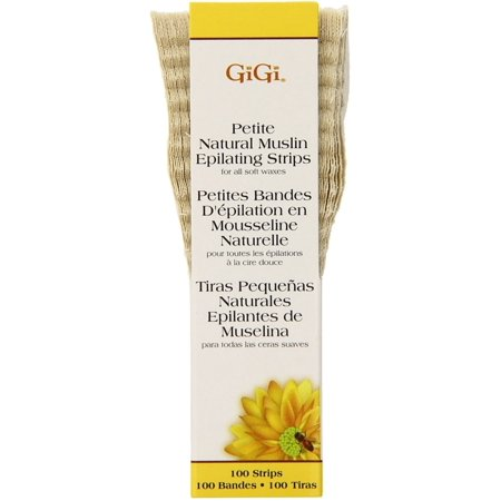 GiGi Natural Muslin Epilating Strips, Petite 100 ea (Pack of