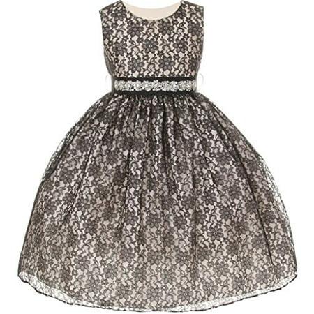 Silk Taffeta Jeweled Dress (Big Girls' Lace Taffeta Jeweled Belt Sash Flowers Girls Dresses Black Black Size)