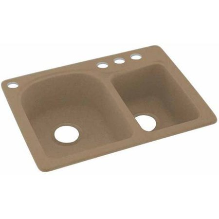 Swan Solid Surface Ec Double Bowl Kitchen Sink 18 X 25