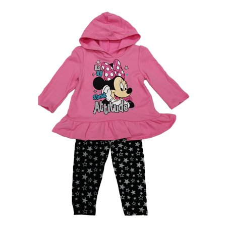 Little Girls Pink Minnie Hooded Star Print 2 Pc Legging Outfit