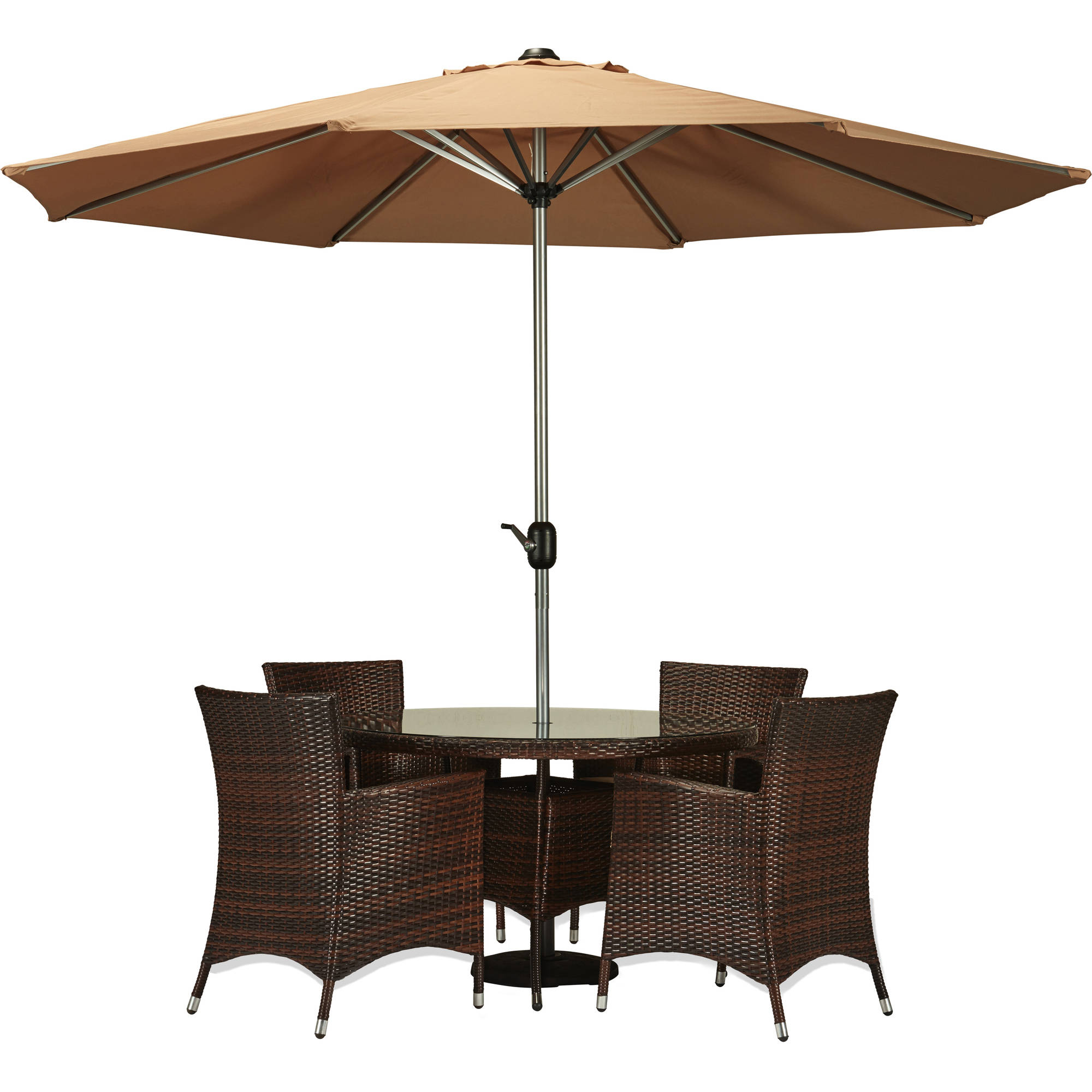Incadozo 6-Piece All-Weather Wicker Dining Set, Dark Brown with Beige Umbrella and Cushions