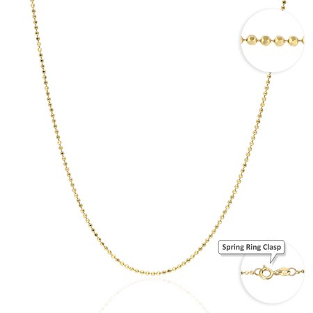10K Solid Yellow Gold Diamond Cut 1.5mm Disco Ball Beads Dog Tag Chain Necklace Gold Diamond Cut Bead Chain