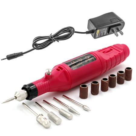 Pinkiou Electric Nail Drill Machine Nail File Drill Kit Manicure Pedicure Set Drilling Pen With 6pcs Nail (Best French Manicure Set)