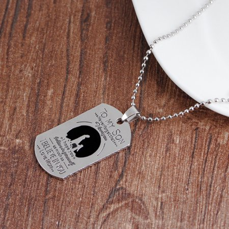 - Obstce To My Son Love Mom Letter Dog Tag Pendant Necklace Military Men Jewelry Gift