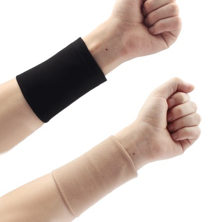 Black/Skin Wrist Band Forearm Tattoo Cover Up Wrist Brace Compression Sleeve Carpal