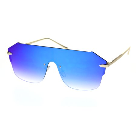 Robotic Rimless Shield Futuristic Luxury Hip Hop Sunglasses Gold Blue Mirror ()