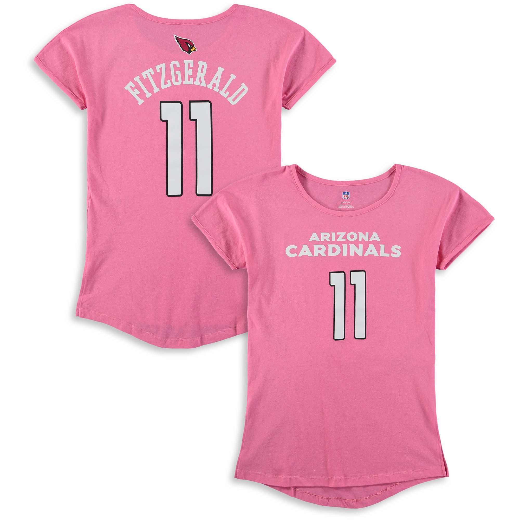 Larry Fitzgerald Arizona Cardinals Girls Youth Dolman Mainliner Name & Number T-Shirt - Pink