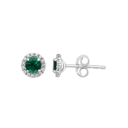 Genuine Simulated Emerald and White CZ Sterling Silver Cushion-Framed Earrings - Genuine Turquoise Stone Jewelry