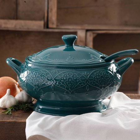 The Pioneer Woman Farmhouse Lace Tureen with Lid and Ladle, Ocean Teal