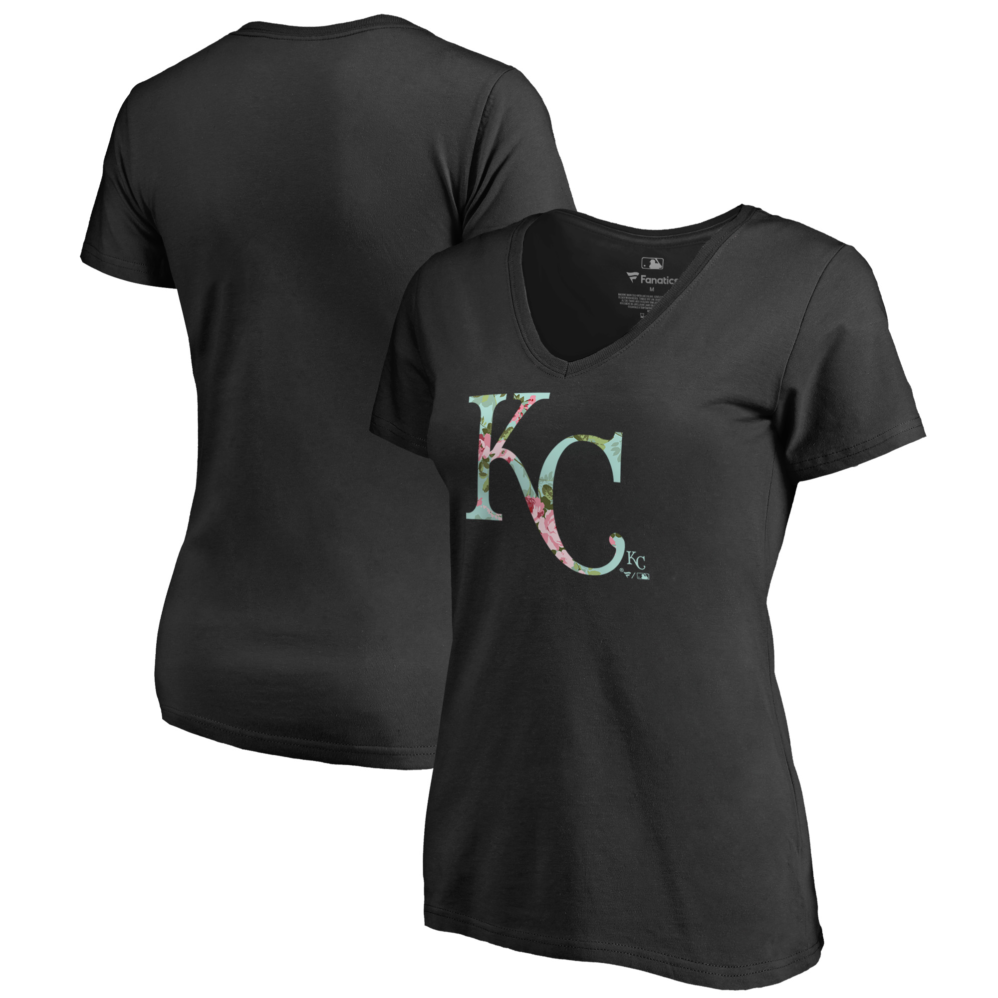 Kansas City Royals Fanatics Branded Women's Lovely V-Neck T-Shirt - Black