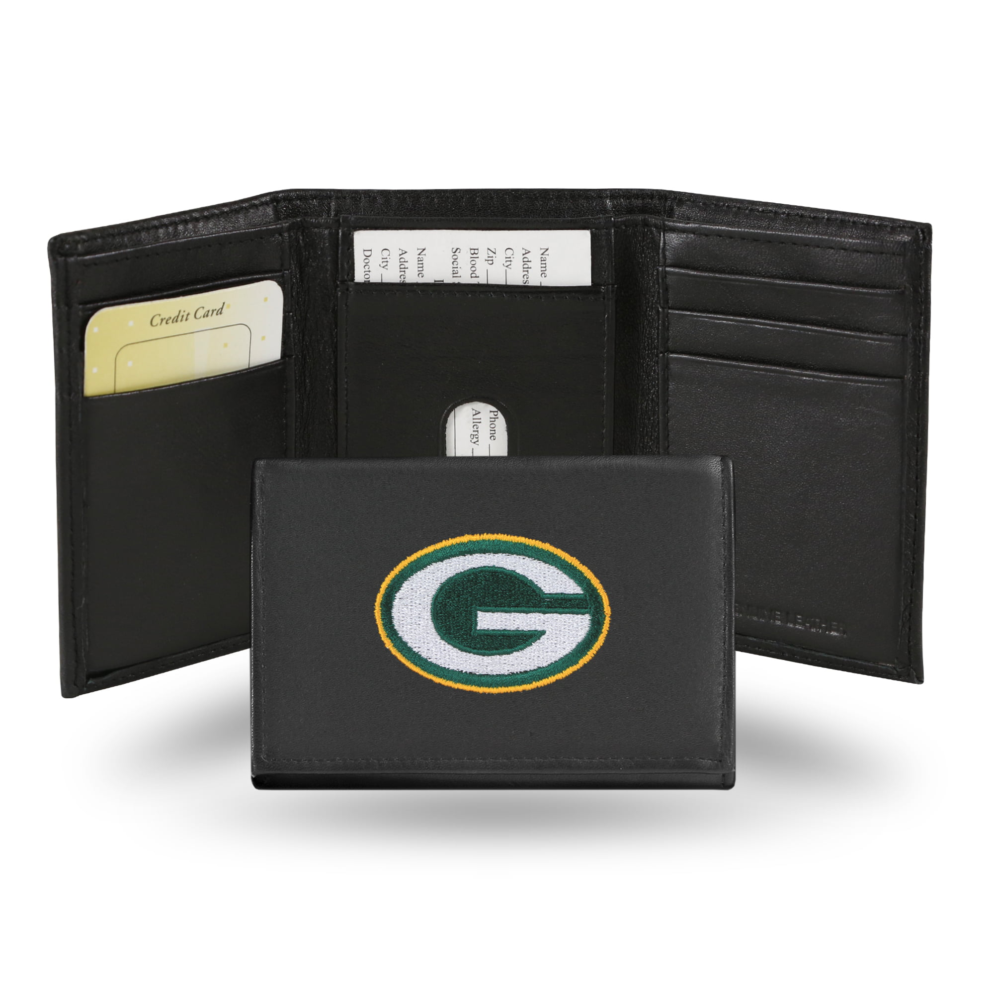 NFL Men's Green Bay Packers Embroidered Trifold Wallet by Rico Industries