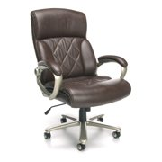 OFM Avenger Series Model 812-LX Leather High-Back Big and Tall Executive Chair, Brown with Champagne Finish