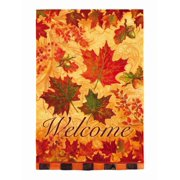 Evergreen Welcome Fall Leaves Large Fabric Decorative Flag 29 By 43 Inch
