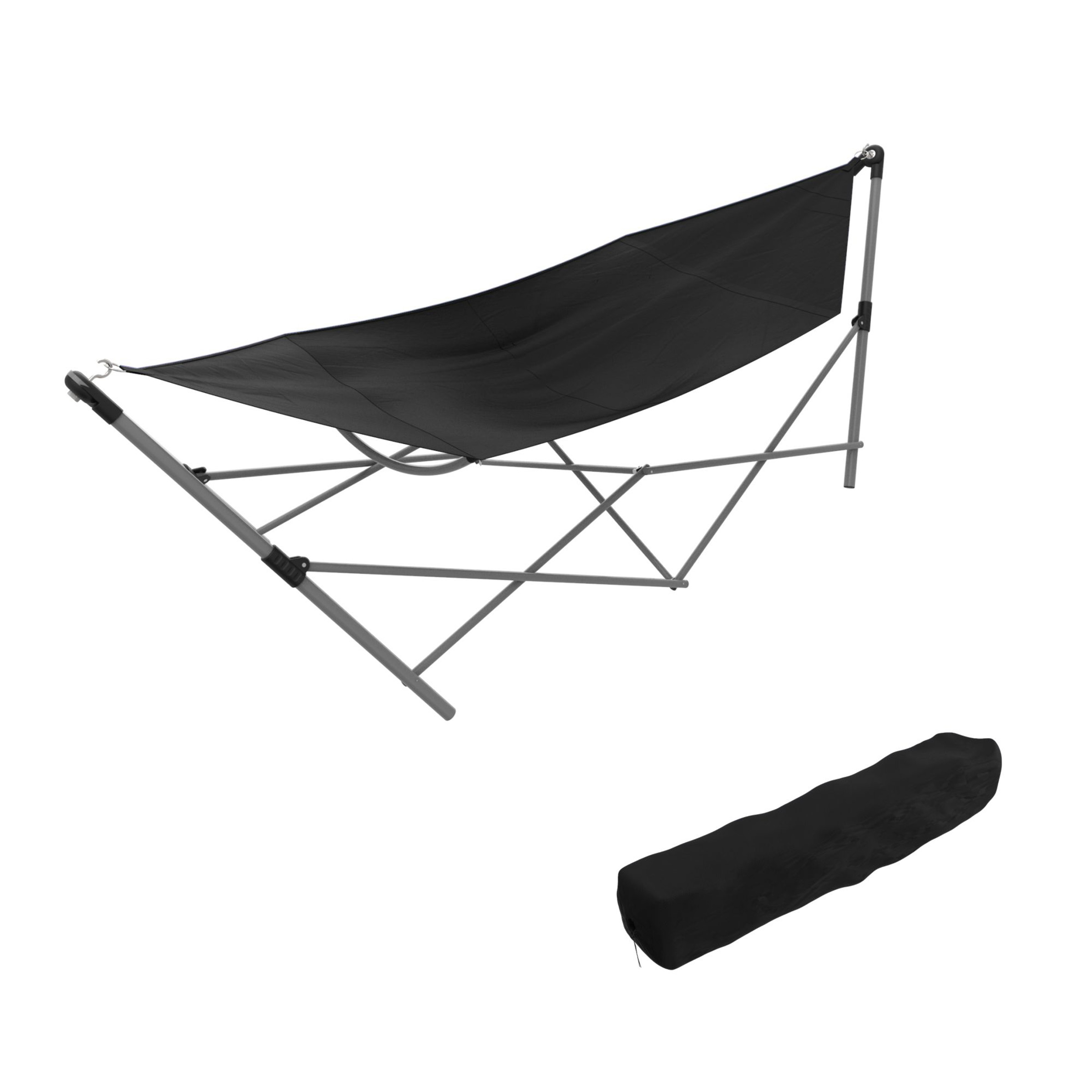 Portable Hammock With Stand Folds And Fits Into Included Carry Bag