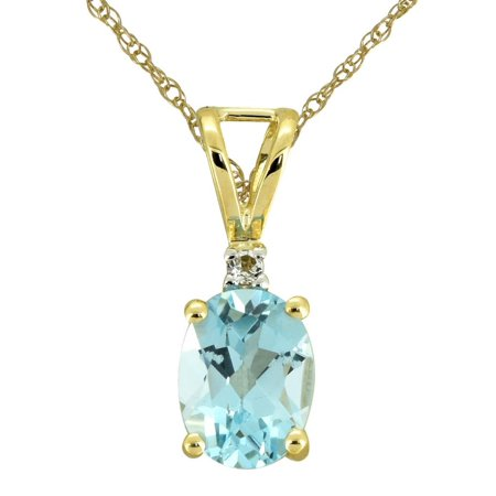 1.23 Ct. Sky Blue Topaz Solid 10K Yellow Gold Chain Pendant