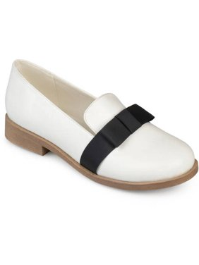 Brinley Co. Womens Bow Faux Leather Loafer Flats