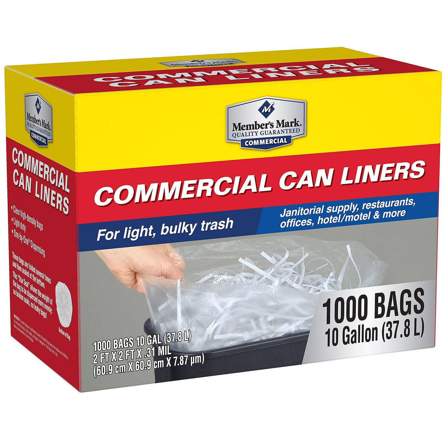 Member S Mark Commercial Trash Bags 10 Gallon Clear 1000 Ct