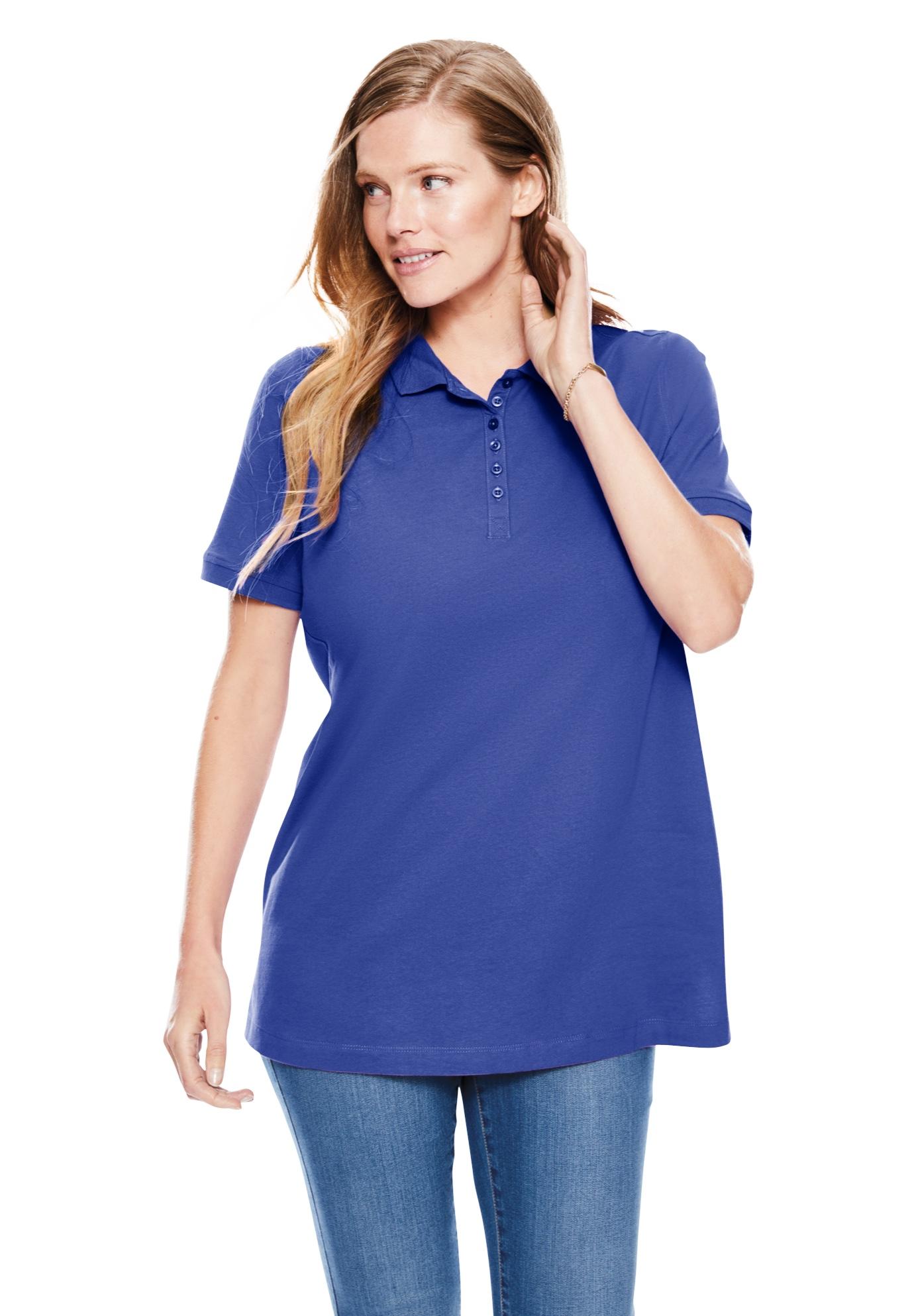 women's plus size navy blue polo shirts