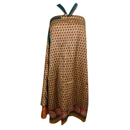 Mogul Vintage Wrap Around Skirt Silk Sari 2 Layer Reversible Beach Cover Up