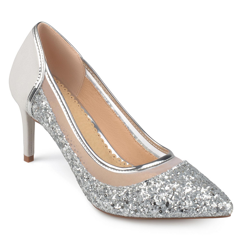 Brinley Co. Women's Faux Suede Mesh Glitter Almond Toe Heels