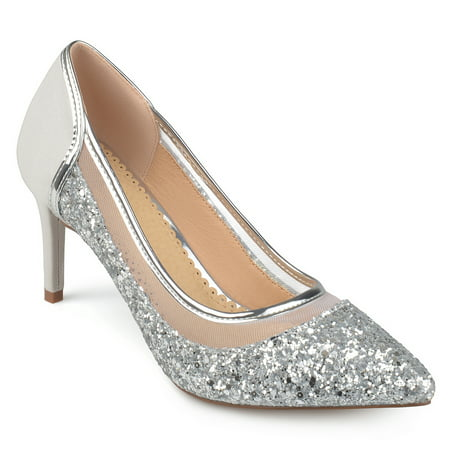 Brinley Co. Women's Faux Suede Mesh Glitter Almond Toe (Women's Silver Glitter Clear Heels)