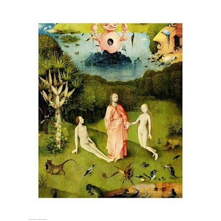 The Garden Of Earthly Delights The Garden Of Eden Left Wing Of Triptych Print By