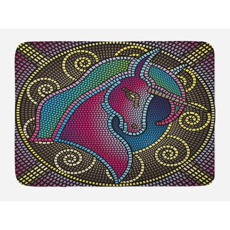 Fantasy Bath Mat, Fractal Unicorn Figure with Mosaic Art Tile Effects Girlish Creature Display Print, Non-Slip Plush Mat Bathroom Kitchen Laundry Room Decor, 29.5 X 17.5 Inches, Multicolor, Ambesonne